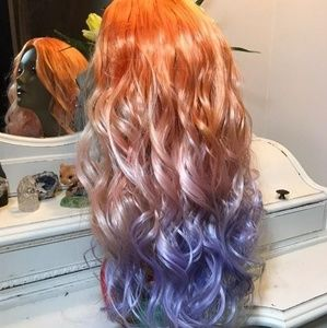New [Custom Dyed] curly 🌈 Rainbow Lace Part Wig